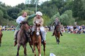 MOSCOW - SEPTEMBER 4: Riders on horses. The international festival of fights