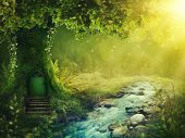 Deep magic forest with sunshine poster
