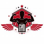 Bodybuilding Weightlifting Gym Logotype Sport Club, Retro Stylized Vector Emblem Or Badge With Wings poster