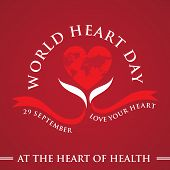 World Heart Day Core World Doctor Medical Greeting Card With Graphic Heart And Ribbon. Vector Illust poster
