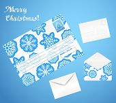 Christmas envelope set. Front and back sides. Open and closed