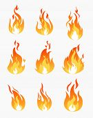 Vector Illustration Set Of Fire Flames Icons On White Background. Flame In Different Shapes Collecti poster