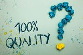 Handwriting Text 100 Quality. Concept Meaning Guaranteed Pure And No Harmful Chemicals Top Excellenc poster