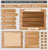 Постер, плакат: Деревянные элементы набора Векторные иллюстрации