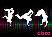 foto of break-dance  - Break Dancers on a Black Background - JPG