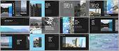 Travel Concept Presentations Design, Portfolio Vector Templates With Graphic Elements On Black. Mult poster