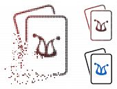 Joker Gambling Cards Icon In Dispersed, Dotted Halftone And Undamaged Whole Variants. Fragments Are  poster