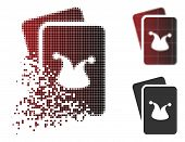 Joker Gaming Cards Icon In Fractured, Dotted Halftone And Undamaged Entire Variants. Points Are Orga poster