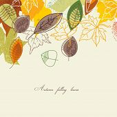 stock photo of green leaves  - Autumn falling leaves background - JPG