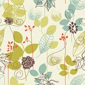 stock photo of leafy  - Seamless pattern on leaves theme - JPG