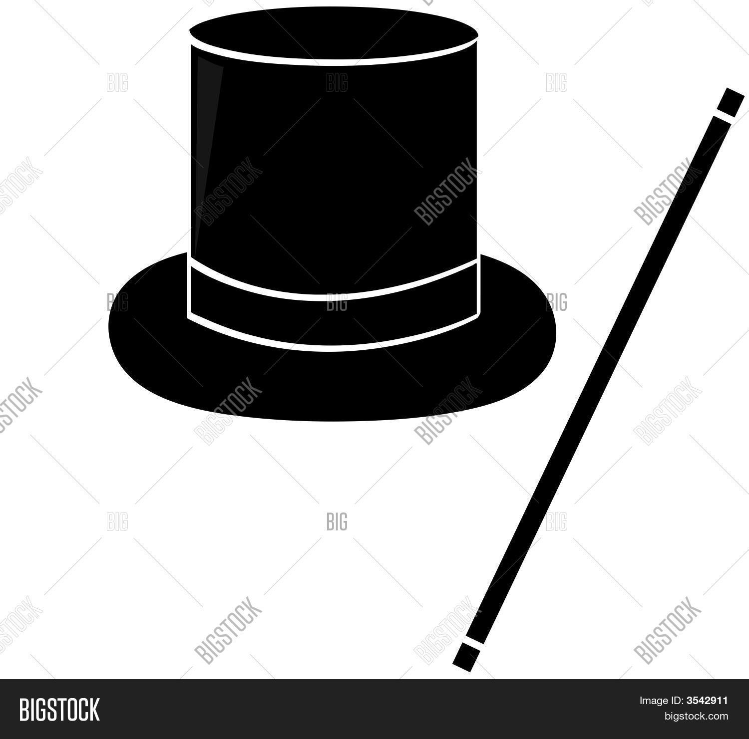 Magic Hat And Wand Silhouette. Stock Vector & Stock Photos ...