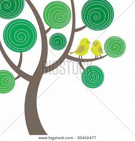dekorative Komposition mit zwei Vögel auf dem Baum