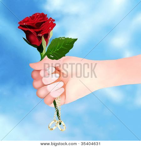 Holding Red Rose and Engagement Ring
