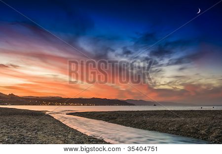 A colorful dawn and interesting formation of clouds