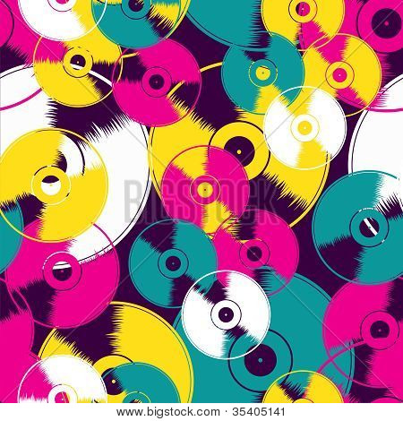 Vinyl Retro Seamless Pattern