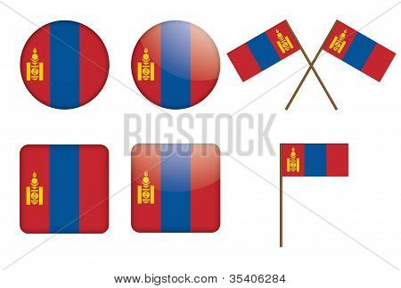 Badges With Flag Of Mongolia