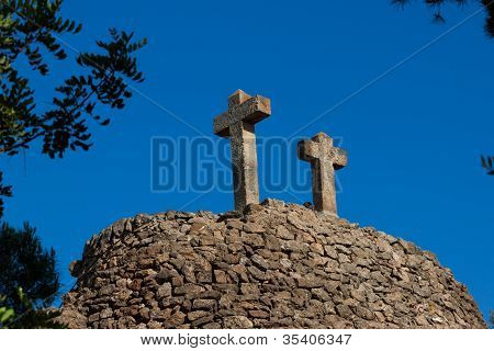 Two Old Ston Crosses In Barcelona