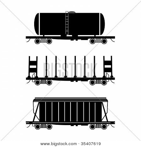 Hopper car, open wagon, tank car