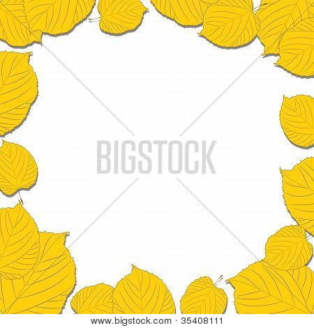 Autumn leaves frame on the white background dropping shadows