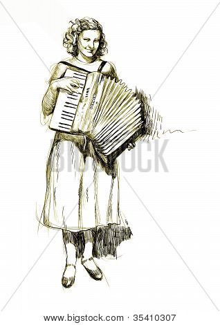 girl with an accordion