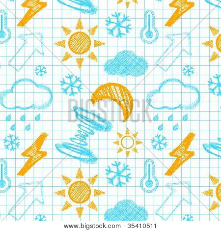 Weather hand drawn seamless pattern.