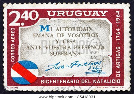 Postage stamp Uruguay 1965 Artigas Quotation, Jose Artigas
