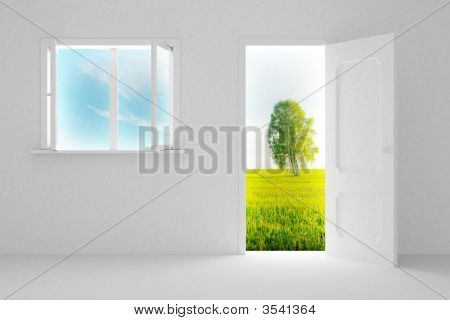Landscape Behind The Open Door And Window