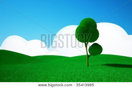 tree on a green field