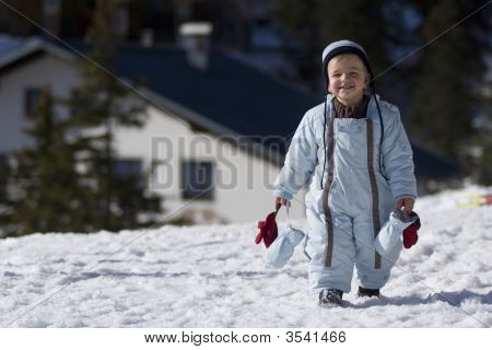 Happy Boy On The Snow