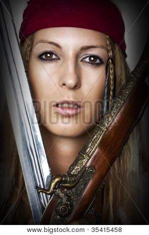 Close Up Portrait Of Female Pirate