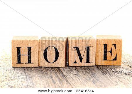 Word Home Spelled In Vintage Alphabet Block Letter