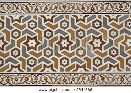 Inlaid Marble Decorating Islamic Tomb