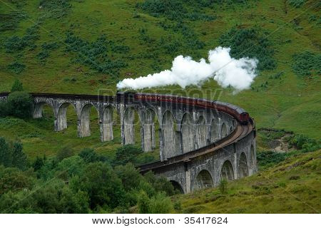 Glenfinnan Viaduct With Steamtrain