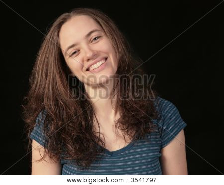 Smiling Happy Woman On Black Background