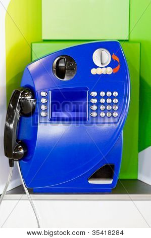 Blue public pay telephone