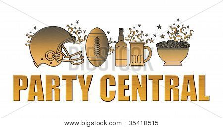 American Football Helmet Ball Beer Chips Party Central