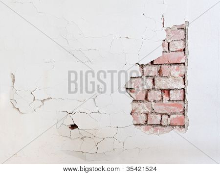 Cracked Wall With Brick