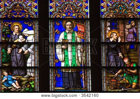 Saint Peter Stained Glass Close St. Patrick'S Cathedral New York City