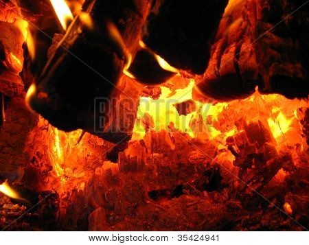 Fire wood brighly in the furnace