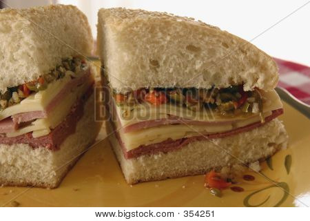 New Orleans Muffaletta Quartered