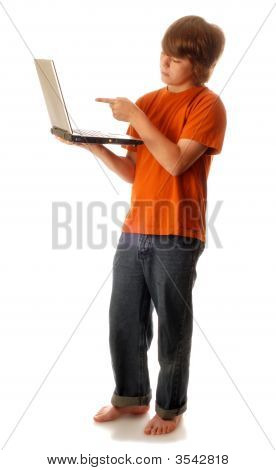 Young Teen Boy With Computer Pointing