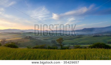 Morning mist in Val d'Orcia near San Quirico, Tuscany, Italy