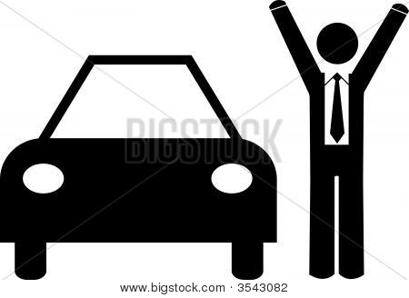 Stick Man Business Arms Up With Car.Eps