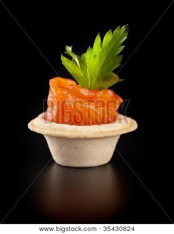 ?loseup Of Canape With Smoked Salmon Fish