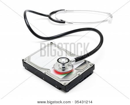 Data Recovery Stethoscope And Hard Drive Disc