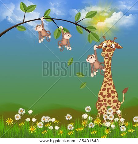 giraffe with cute monkeys