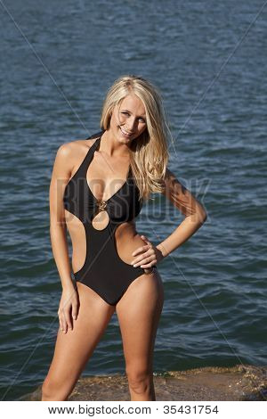 Woman Black Swim Suit Smile