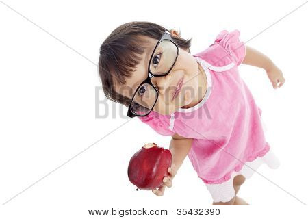 Little Pupil Eating Apple