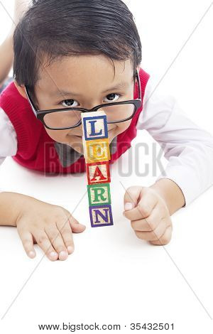 Pupil With Tower Of Learn Word