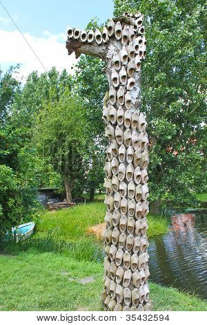 Decorative Pole With The Dutch Boots On The Island Marken. Netherlands